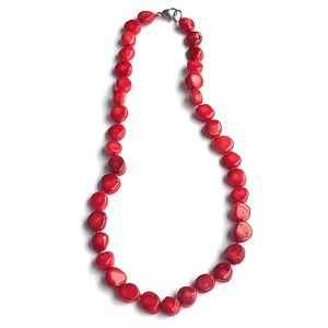 Vintage Bamboo Coral Beaded Necklace Hand Knotted